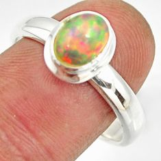 2.31cts natural ethiopian opal 925 sterling silver solitaire ring size 9 r26279
