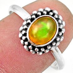 2.38cts natural ethiopian opal 925 sterling silver solitaire ring size 9 r41384