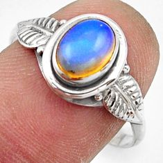 2.36cts natural ethiopian opal 925 sterling silver solitaire ring size 9 r41517