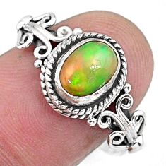 1.96cts natural ethiopian opal 925 sterling silver solitaire ring size 9 r57490