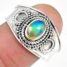 1.53cts natural ethiopian opal 925 sterling silver solitaire ring size 9 r59026