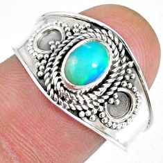 1.53cts natural ethiopian opal 925 sterling silver solitaire ring size 9 r59030