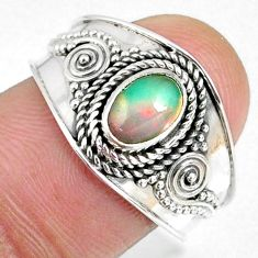 1.57cts natural ethiopian opal 925 sterling silver solitaire ring size 9 r59058