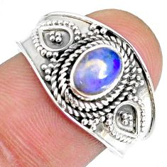 1.57cts natural ethiopian opal 925 sterling silver solitaire ring size 9 r59073