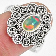 1.45cts natural ethiopian opal 925 sterling silver solitaire ring size 9 r59106