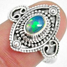 1.54cts natural ethiopian opal 925 sterling silver solitaire ring size 9 r59155
