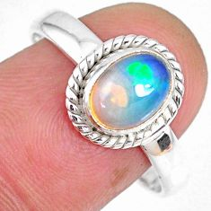 1.96cts natural ethiopian opal 925 sterling silver solitaire ring size 9 r59303