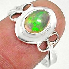 2.22cts natural ethiopian opal 925 sterling silver solitaire ring size 9 r68571