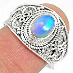 2.17cts natural ethiopian opal 925 sterling silver solitaire ring size 9 r69021