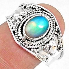 2.05cts natural ethiopian opal 925 sterling silver solitaire ring size 9 r69036