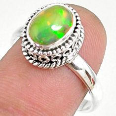 2.13cts natural ethiopian opal 925 sterling silver solitaire ring size 9 r75344