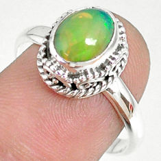 2.97cts natural ethiopian opal 925 sterling silver solitaire ring size 9 r75378