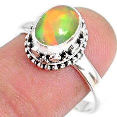 2.81cts natural ethiopian opal 925 sterling silver solitaire ring size 9 r75430
