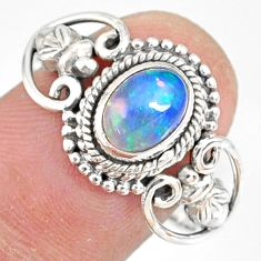 2.09cts natural ethiopian opal 925 sterling silver solitaire ring size 9 r82307