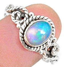 2.21cts natural ethiopian opal 925 sterling silver solitaire ring size 9 r82310