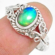 2.19cts natural ethiopian opal 925 sterling silver solitaire ring size 9 r82398