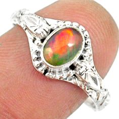 1.48cts natural ethiopian opal 925 sterling silver solitaire ring size 9 r85459