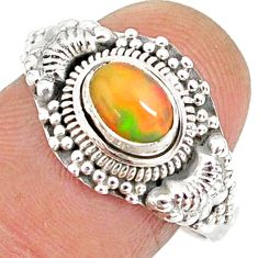 1.47cts natural ethiopian opal 925 sterling silver solitaire ring size 9 r85461