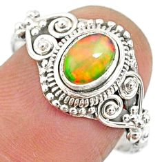 1.47cts natural ethiopian opal 925 sterling silver solitaire ring size 9 r85474