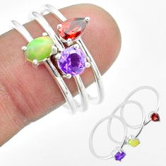 3.13cts natural ethiopian opal amethyst garnet 925 silver 3 rings size 9 t51108