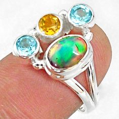 4.50cts natural ethiopian opal blue topaz citrine 925 silver ring size 7 r65567