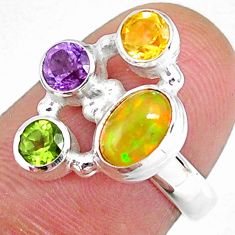 3.62cts natural ethiopian opal citrine citrine 925 silver ring size 6 r59226