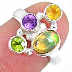 3.83cts natural ethiopian opal citrine peridot 925 silver ring size 5.5 r59228