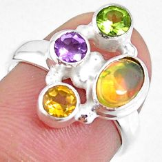 3.82cts natural ethiopian opal citrine peridot 925 silver ring size 6 r59231