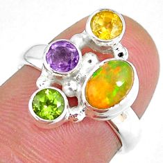 4.02cts natural ethiopian opal citrine peridot 925 silver ring size 6 r59234