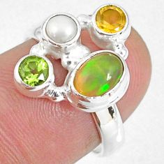 3.83cts natural ethiopian opal citrine peridot 925 silver ring size 7 r59216