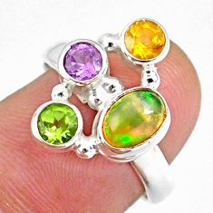 3.62cts natural ethiopian opal citrine peridot 925 silver ring size 7 r59222