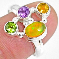 3.61cts natural ethiopian opal citrine peridot 925 silver ring size 8 r59223