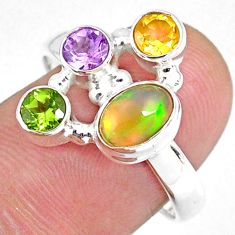 4.02cts natural ethiopian opal citrine peridot 925 silver ring size 8 r59227
