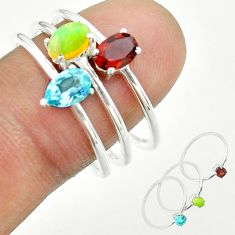 2.97cts natural ethiopian opal garnet topaz 925 silver 3 rings size 9 t51114