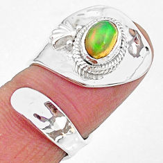 1.96cts natural ethiopian opal oval 925 silver adjustable ring size 8 t8542