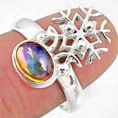 2.19cts natural ethiopian opal oval 925 silver snowflake ring size 7 r65571