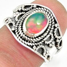 2.23cts natural ethiopian opal oval 925 silver solitaire ring size 6.5 r24989