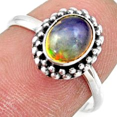 2.21cts natural ethiopian opal oval 925 silver solitaire ring size 7.5 r41382