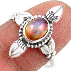 2.31cts natural ethiopian opal oval 925 silver solitaire ring size 8.5 r41439