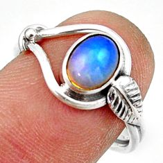 2.30cts natural ethiopian opal oval 925 silver solitaire ring size 7.5 r41533