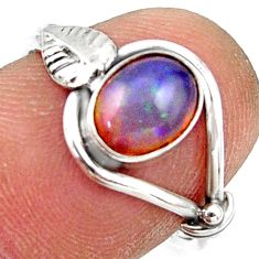 2.29cts natural ethiopian opal oval 925 silver solitaire ring size 7.5 r41534