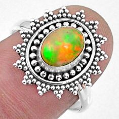 2.08cts natural ethiopian opal oval 925 silver solitaire ring size 7.5 r57487