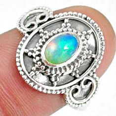 1.54cts natural ethiopian opal oval 925 silver solitaire ring size 8.5 r59074