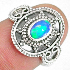 1.44cts natural ethiopian opal oval 925 silver solitaire ring size 7.5 r59079