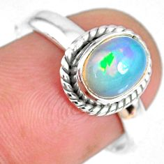 1.98cts natural ethiopian opal oval 925 silver solitaire ring size 7.5 r59308