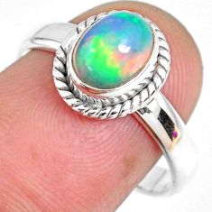1.96cts natural ethiopian opal oval 925 silver solitaire ring size 7.5 r59321