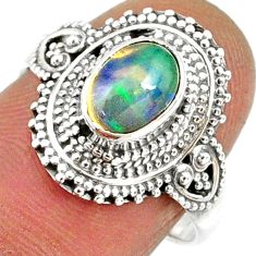 2.17cts natural ethiopian opal oval 925 silver solitaire ring size 7.5 r61145