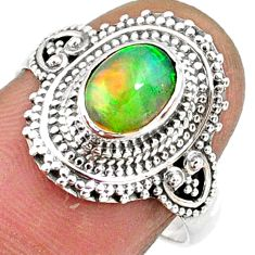 2.20cts natural ethiopian opal oval 925 silver solitaire ring size 7.5 r61156
