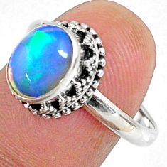 3.10cts natural ethiopian opal oval 925 silver solitaire ring size 7.5 r64513