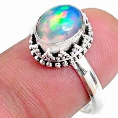 2.90cts natural ethiopian opal oval 925 silver solitaire ring size 7.5 r64521